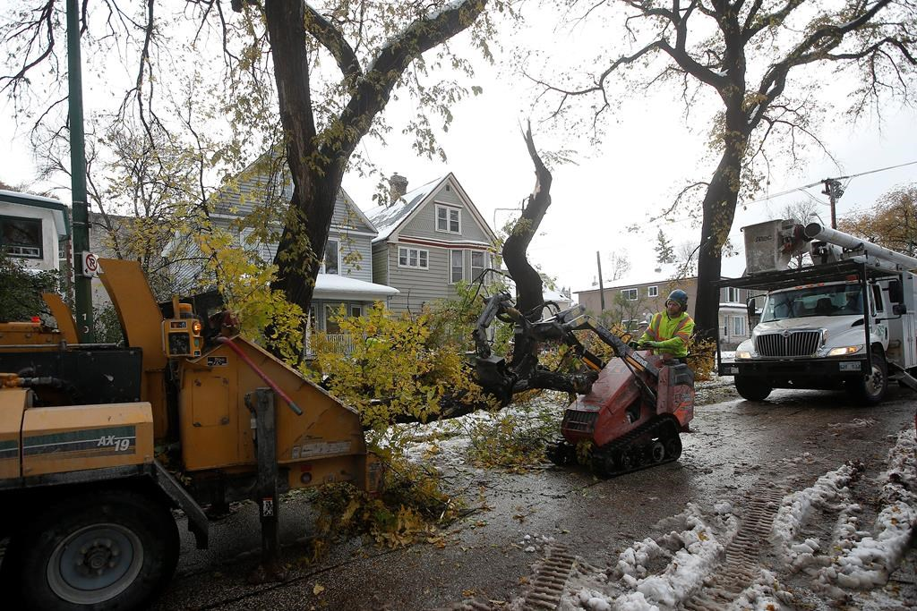 Roughly 13,000 without power days after snowstorm pummels Manitoba