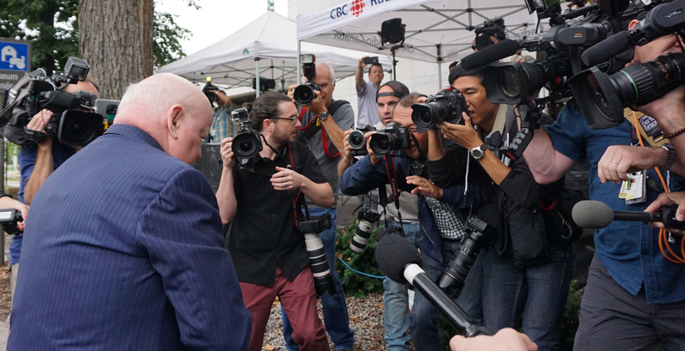 Media scrum at Duffy trial Aug. 2015. Photo by Elizabeth McSheffrey