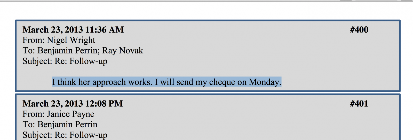 Wright email to Ray Novak about cheque