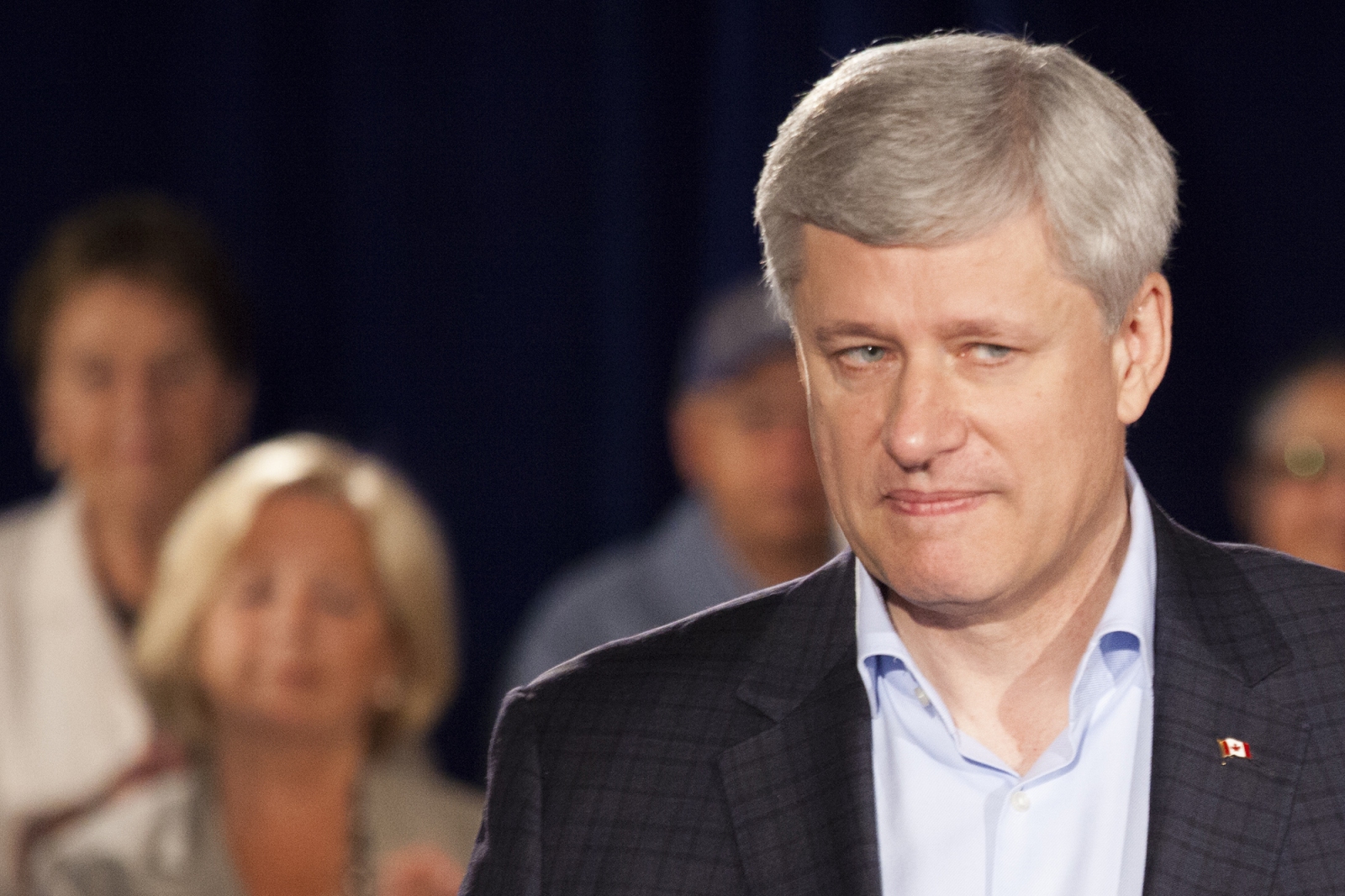 stephen harper grimaces at reporters in north vancouver - mychaylo prystupa national observer