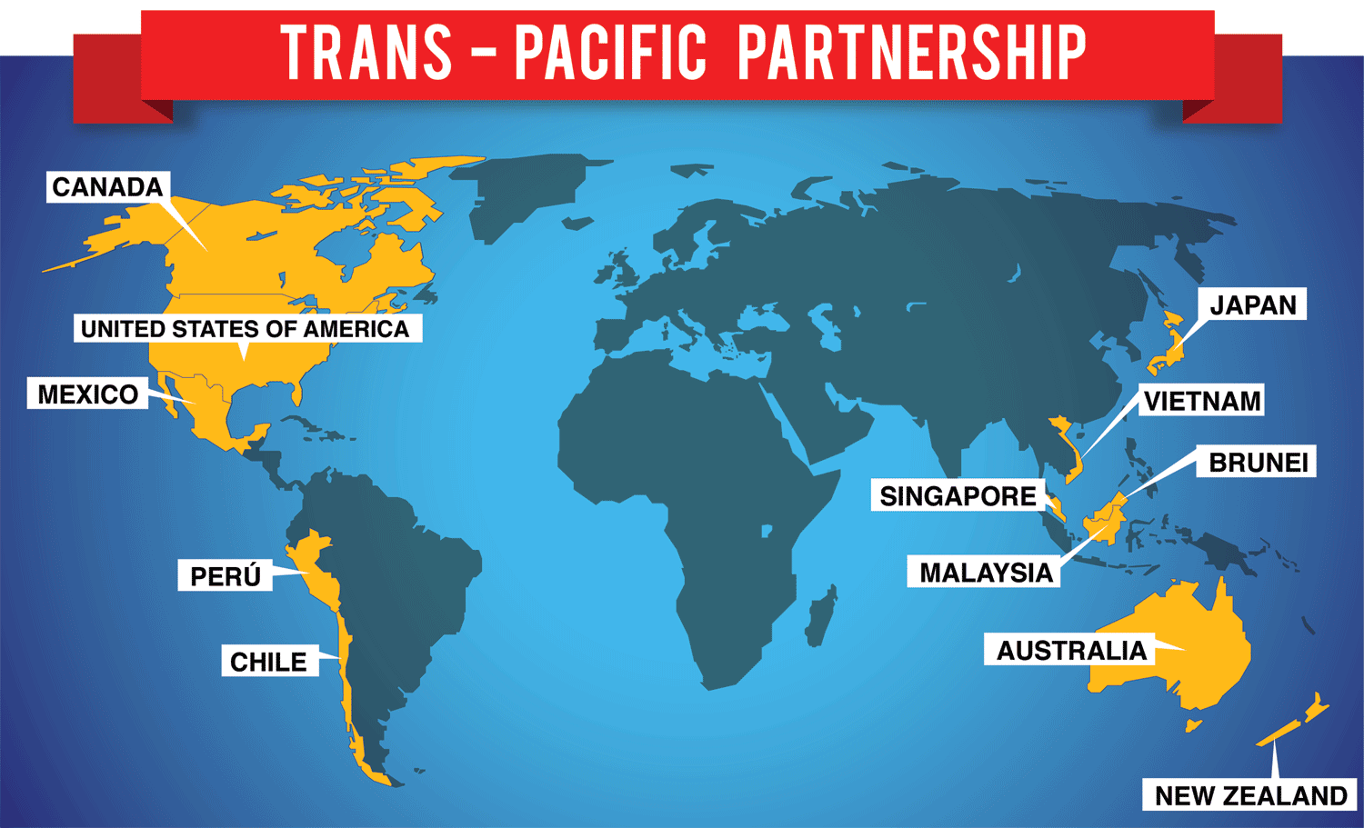 Trans Pacific Partnership - map of involved countries - AG News