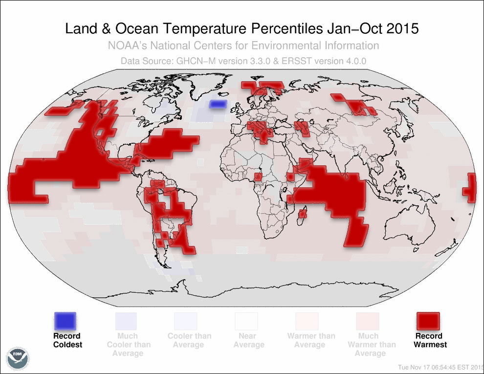 Land & Ocean Temperature Percentiles Jan-Oct 2015