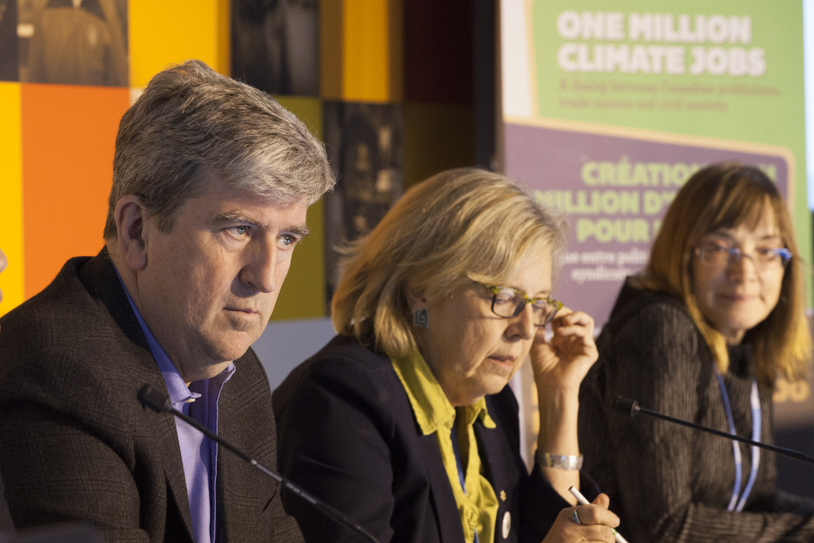 Glen Murrary Elizabeth May Louise Comeau Paris COP21 One Million Climate Jobs panel - Mychaylo Prystupa