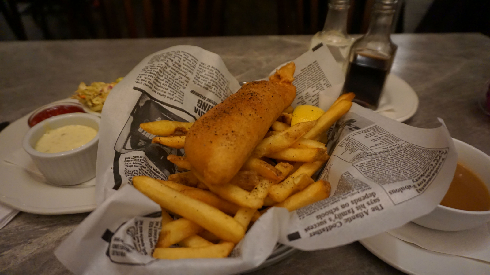 fish and chips, salmon, Campbell River, Quay West Kitchen, seafood, British Columbia, Vancouver Island