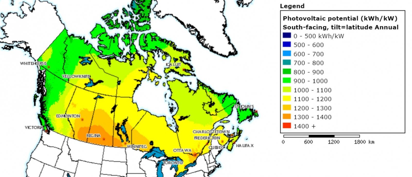 Map of solar energy potential