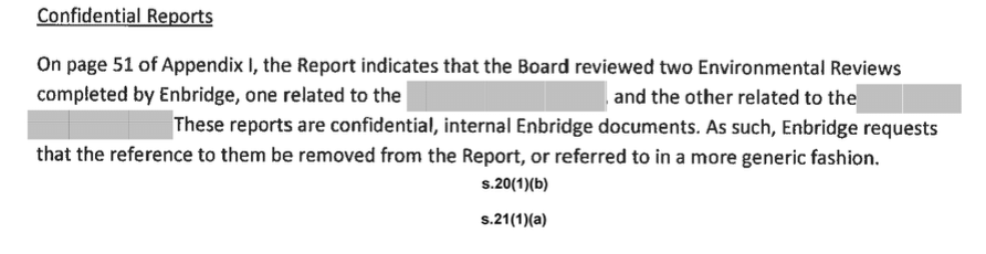 Enbridge, environmental reports, secret, NEB, audit