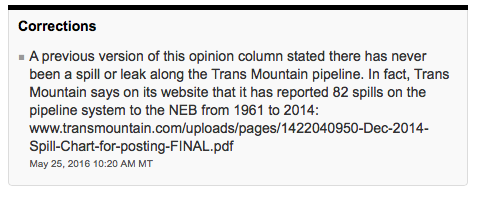CBC, correction, Kinder Morgan, pipelines, Trans Mountain