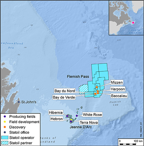 A map of the Flemish Pass Basin. Map by Newfoundland-Canada Offshore Petroleum Board