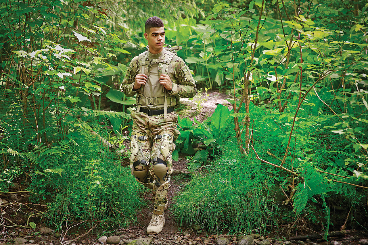 A U.S. soldier wearing a PowerWalk device. Photo by Bionic Power