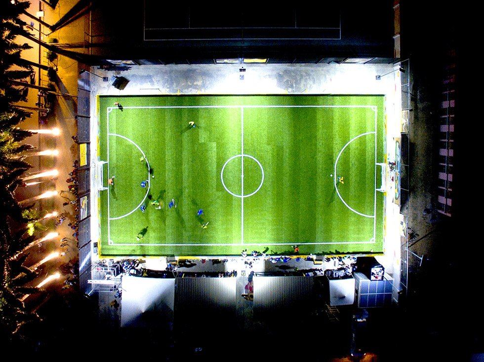 A soccer field in Nigeria with lights powered by Pavegen. Photo by Pavegen