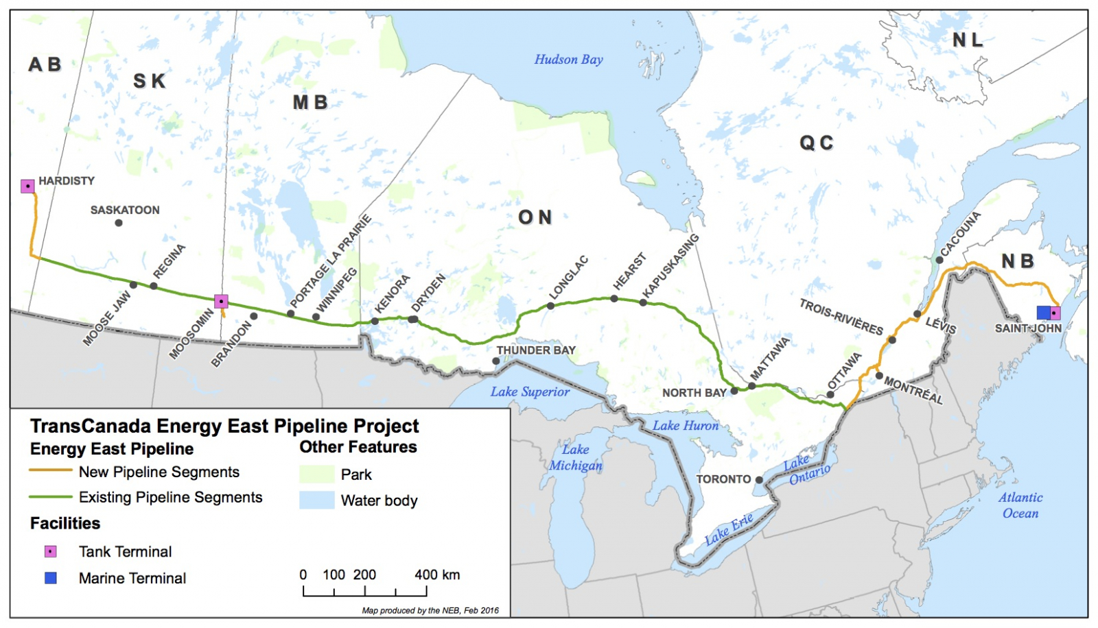 Energy East, map, TransCanada Corp, National Energy Board, NEB, pipeline, oilsands