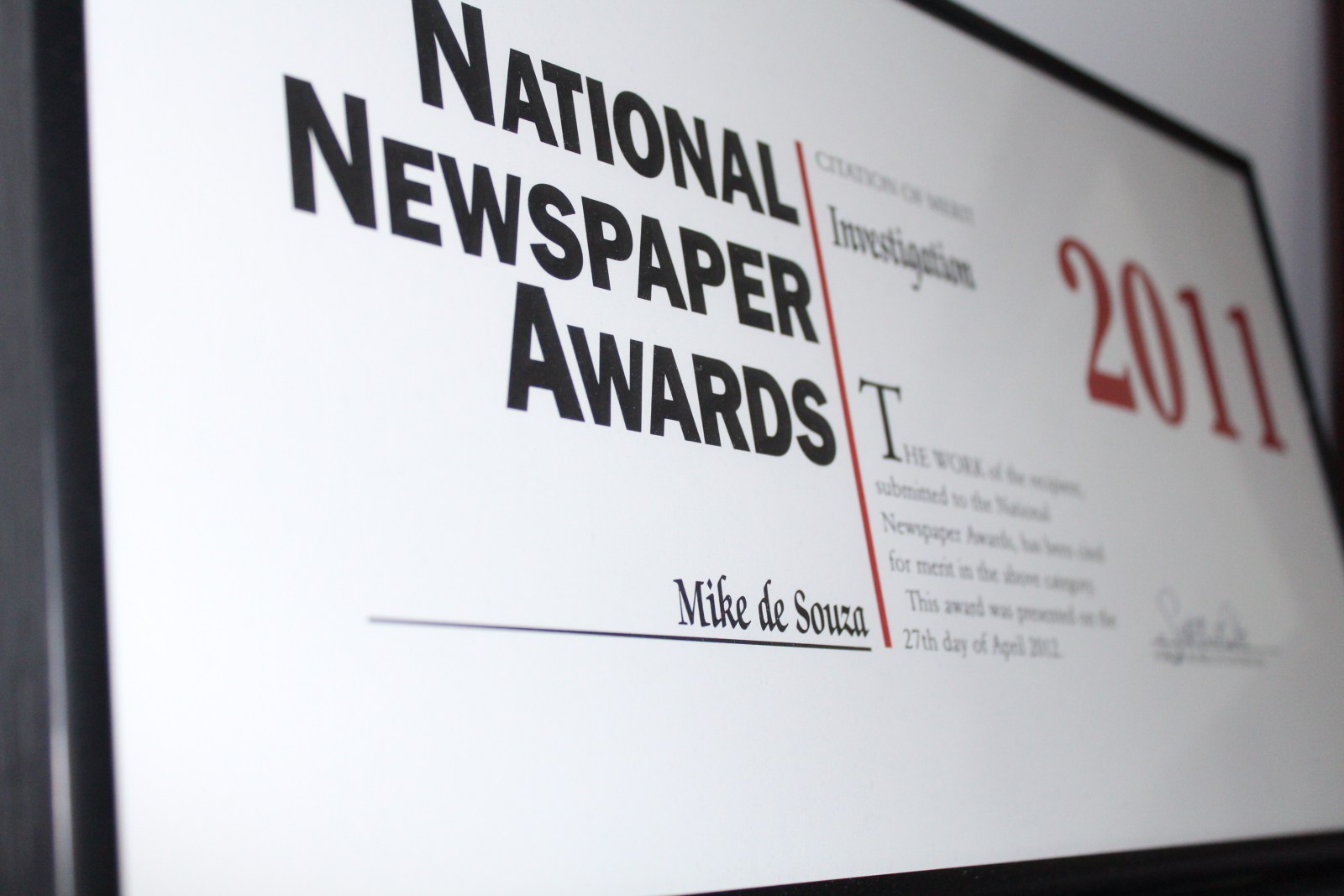 Mike De Souza, National Newspaper Awards, 2011, Friends of Science