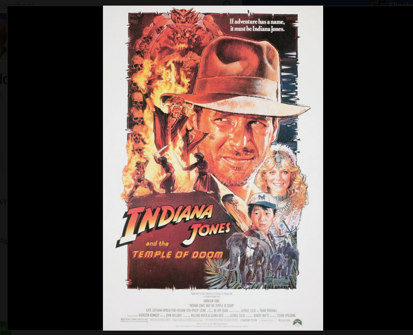 Indiana Jones, movie poster, Facebook, Harrison Ford