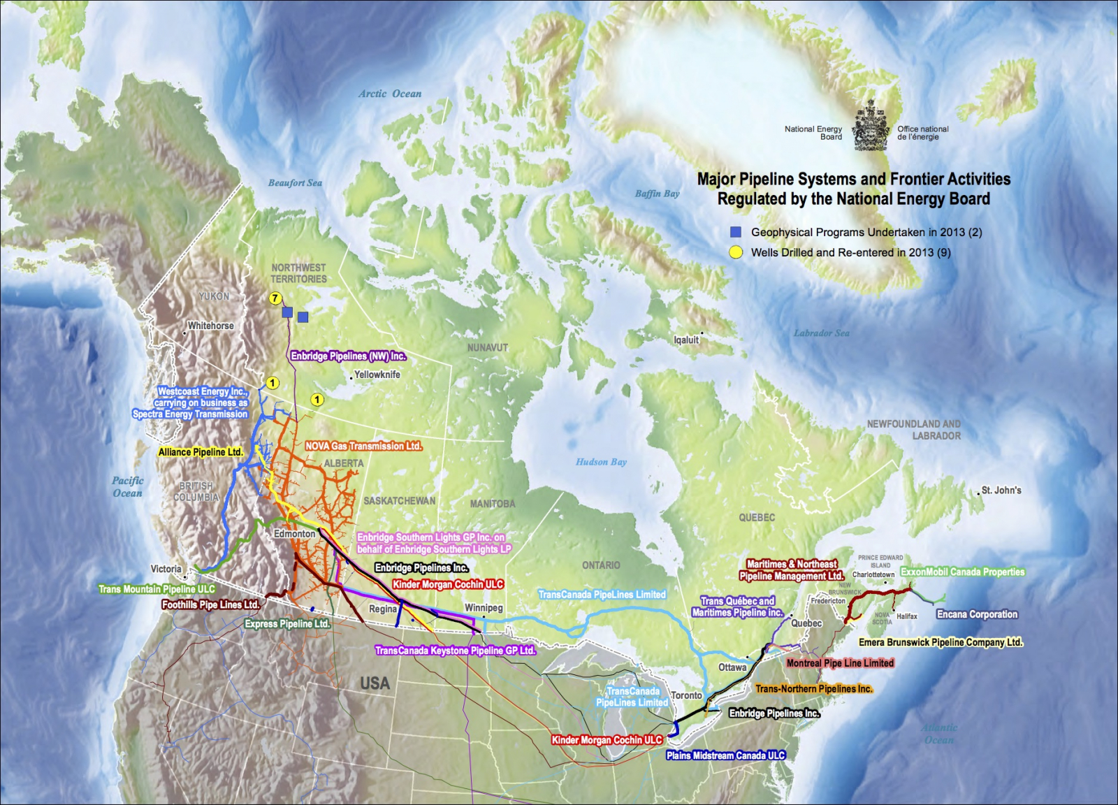 National Energy Board, map, pipelines