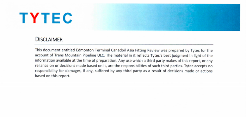 Kinder Morgan, Trans Mountain expansion, disclaimer, Tytec, pipeline
