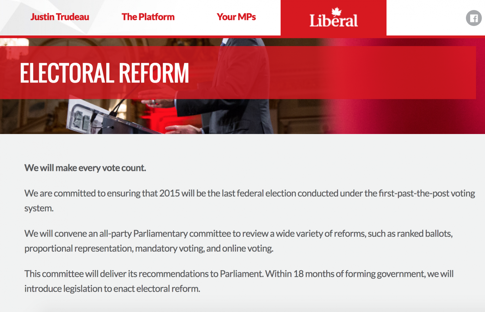 electoral reform, Liberal Party, election promise