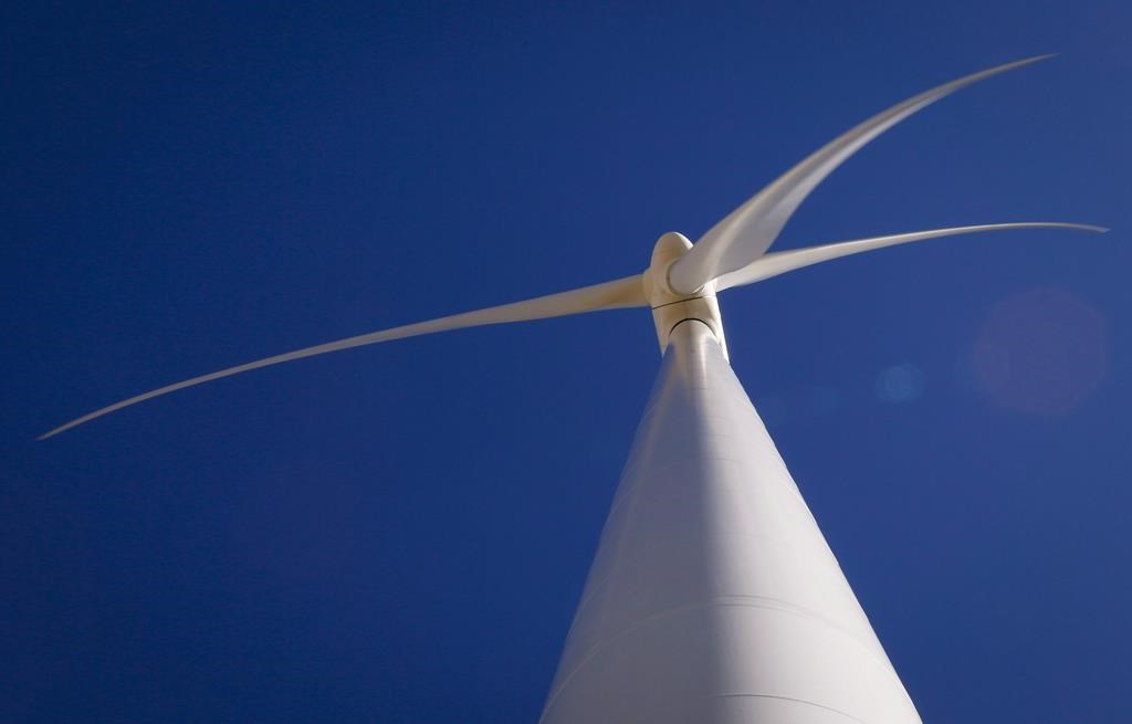 A wind turbine is shown at a wind farm near Pincher Creek, Alta.