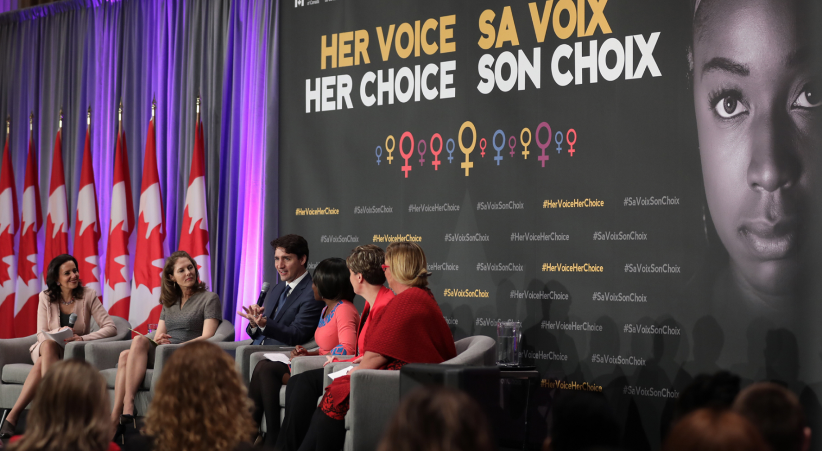 Justin Trudeau, Her Voice Her Choice, right to choose, abortion, International Women's Day