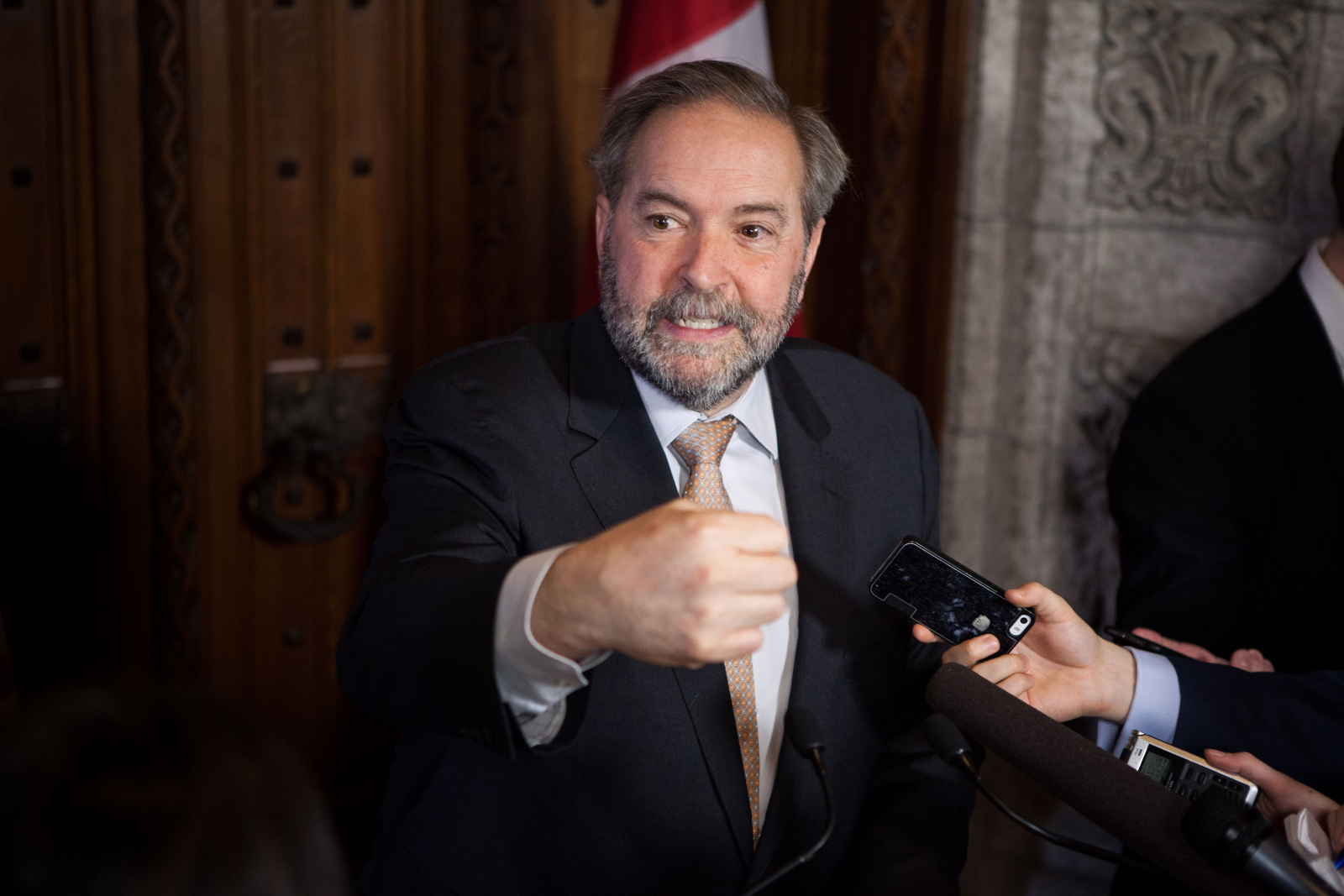 Tom Mulcair, angry, punching, house of commons