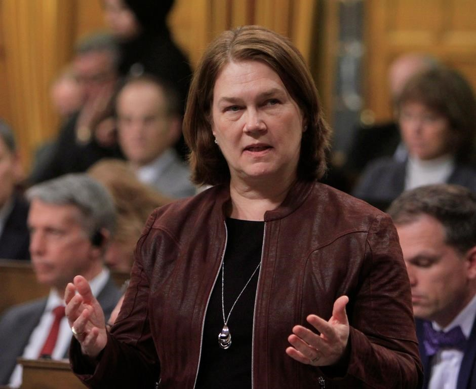 Health Minister Jane Philpott stands during Question Period in the House of Commons in Ottawa, Thursday, April 6, 2017.