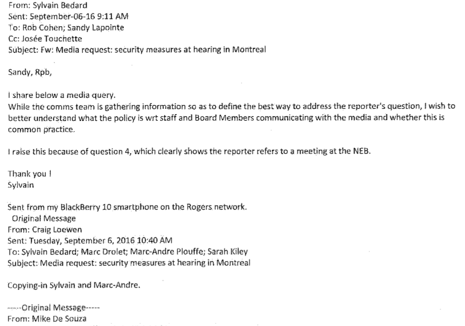 screenshot, memo, National Energy Board, Rob Cohen, NEB, breach, investigation, Sylvain Bédard