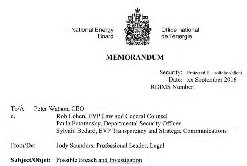 screenshot, memo, National Energy Board, Rob Cohen, NEB, breach, investigation