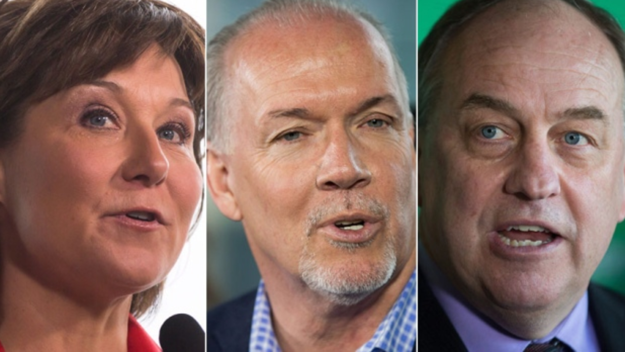 John Horgan, Andrew Weaver, Christy Clark, B.C. election