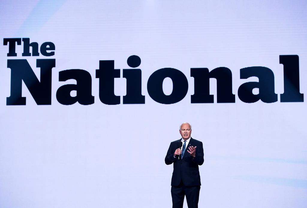 Peter Mansbridge, CBC News chief correspondent, speaks during the CBC upfront showcasing the CBC 2017-18 fall/winter lineup in Toronto on May 24, 2017.