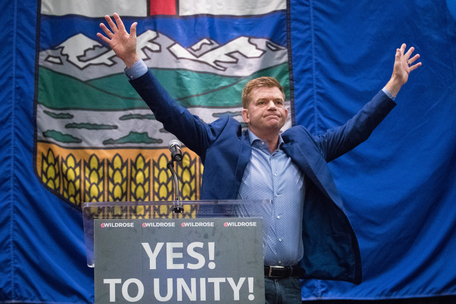 Wildrose leader Brian Jean celebrates the uniting of Alberta's right-wing parties on Saturday, July 22, 2017. Photo provided by the Wildrose Party