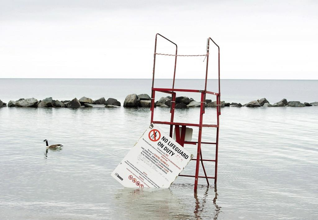 Flooded beaches, Toronto Islands, rising water levels, Toronto