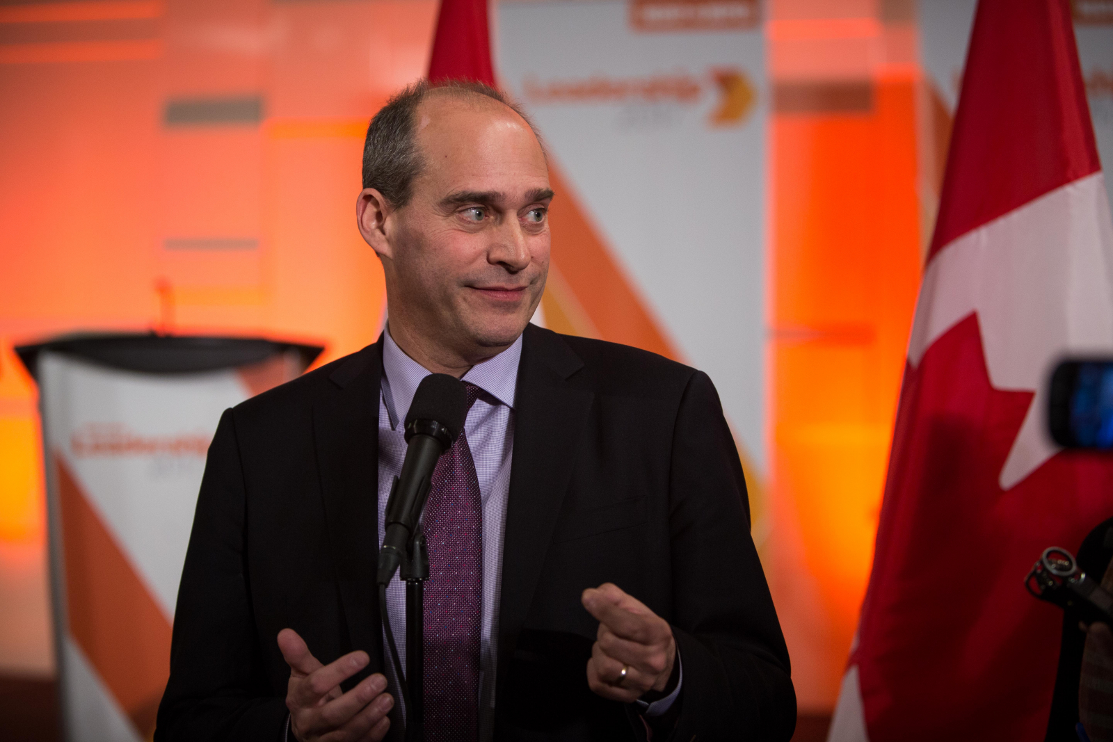 NDP leadership hopeful Guy Caron speaks to reporters in Ottawa on March 12, 2017.