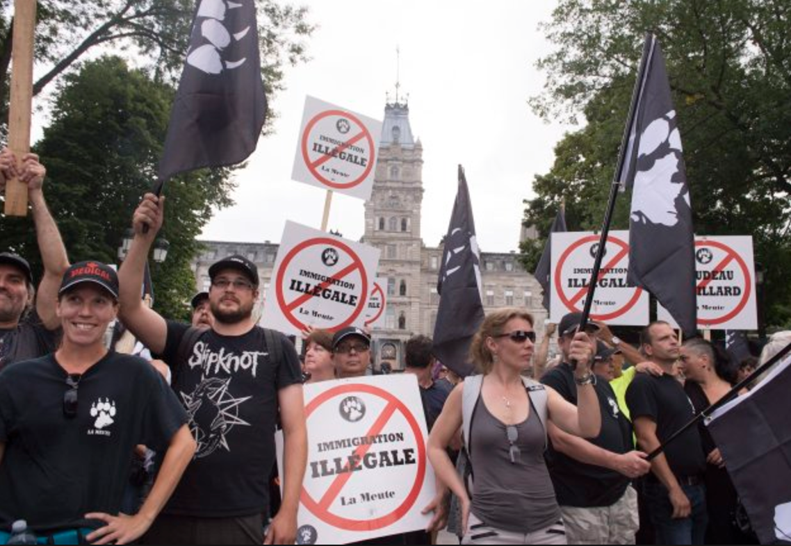La Meute, counter-protest, Quebec City, legislature, far right, racism