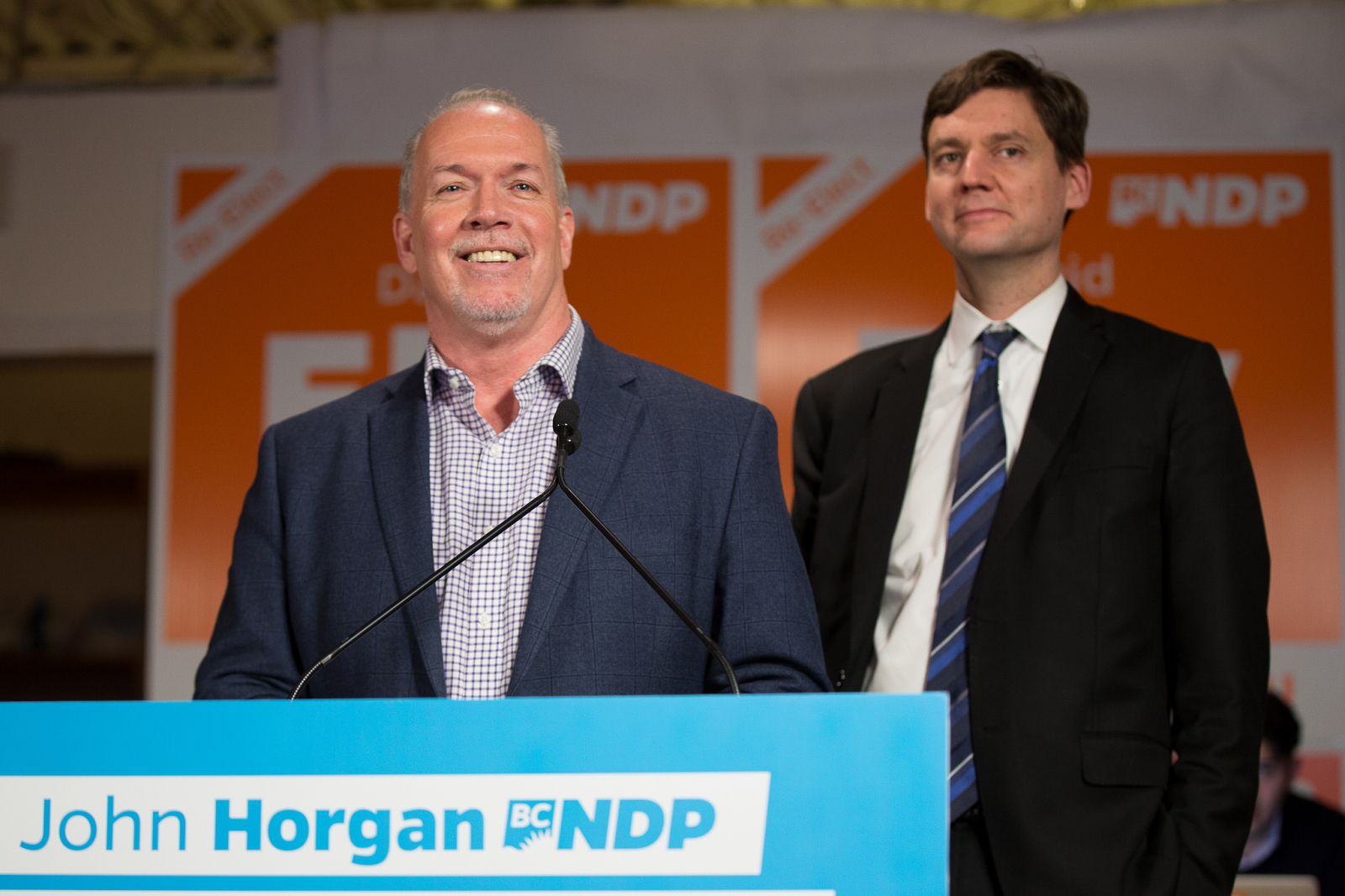 BC NDP leader John Horgan and Attorney General David Eby