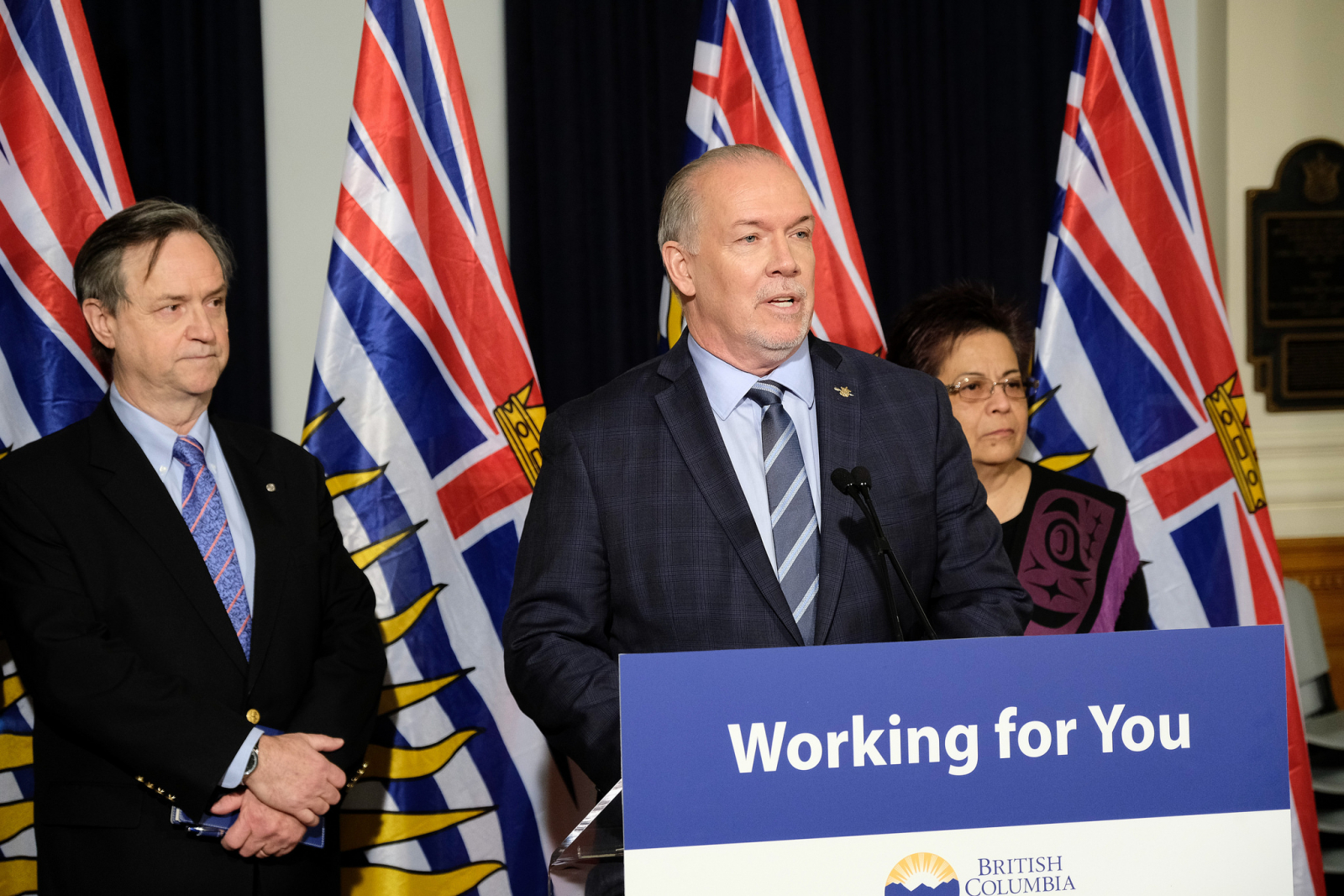 B.C. Premier John Horgan (centre) announced Monday that George Abbott (left) and Chief Maureen Chapman (right) will lead a review of B.C.'s unprecedented 2017 fire season. Photo provided by the Province of British Columbia