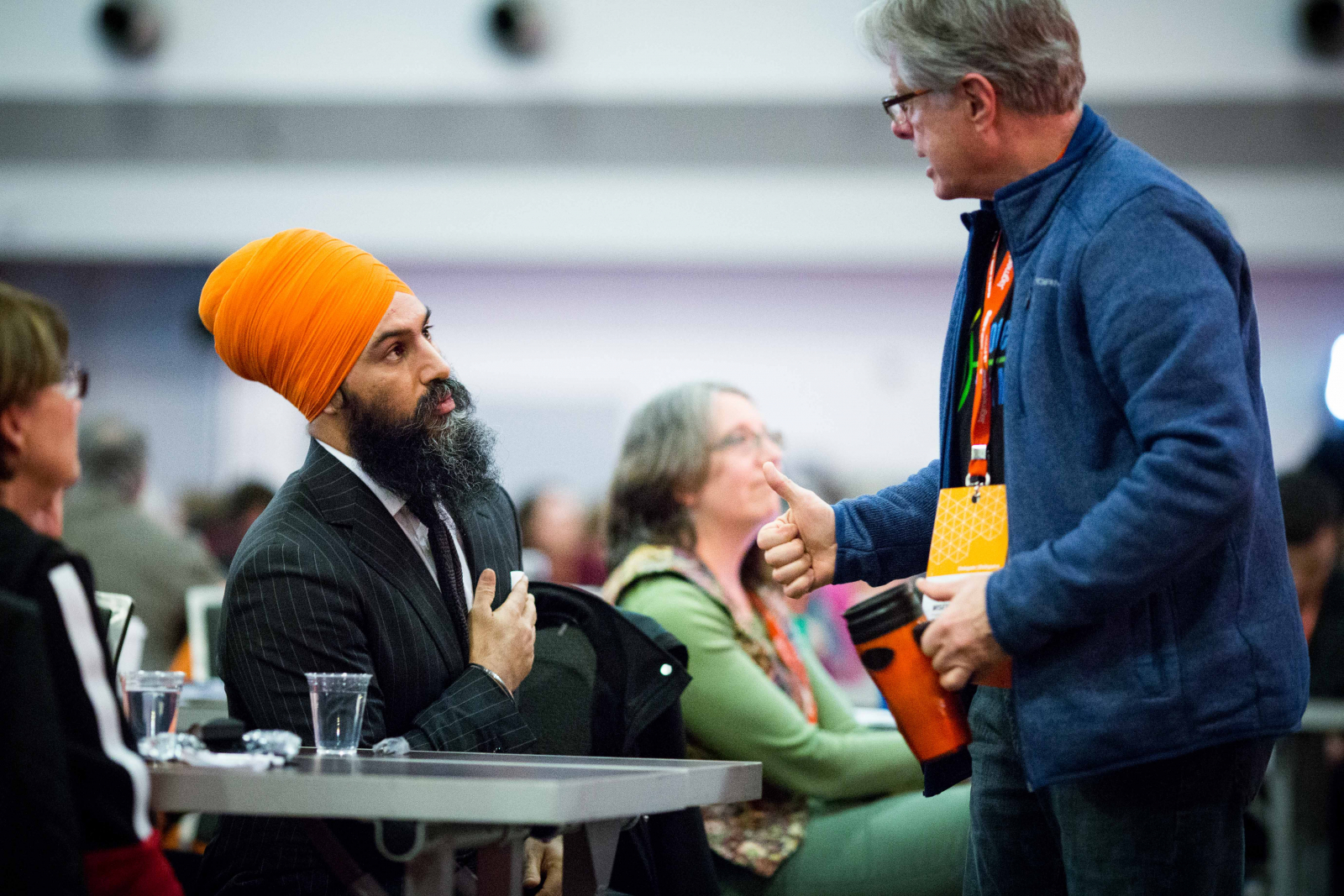 Jagmeet Singh talks to delegates at the NDP's national convention in Ottawa on Feb. 16, 2018. Photo by Alex Tétreault