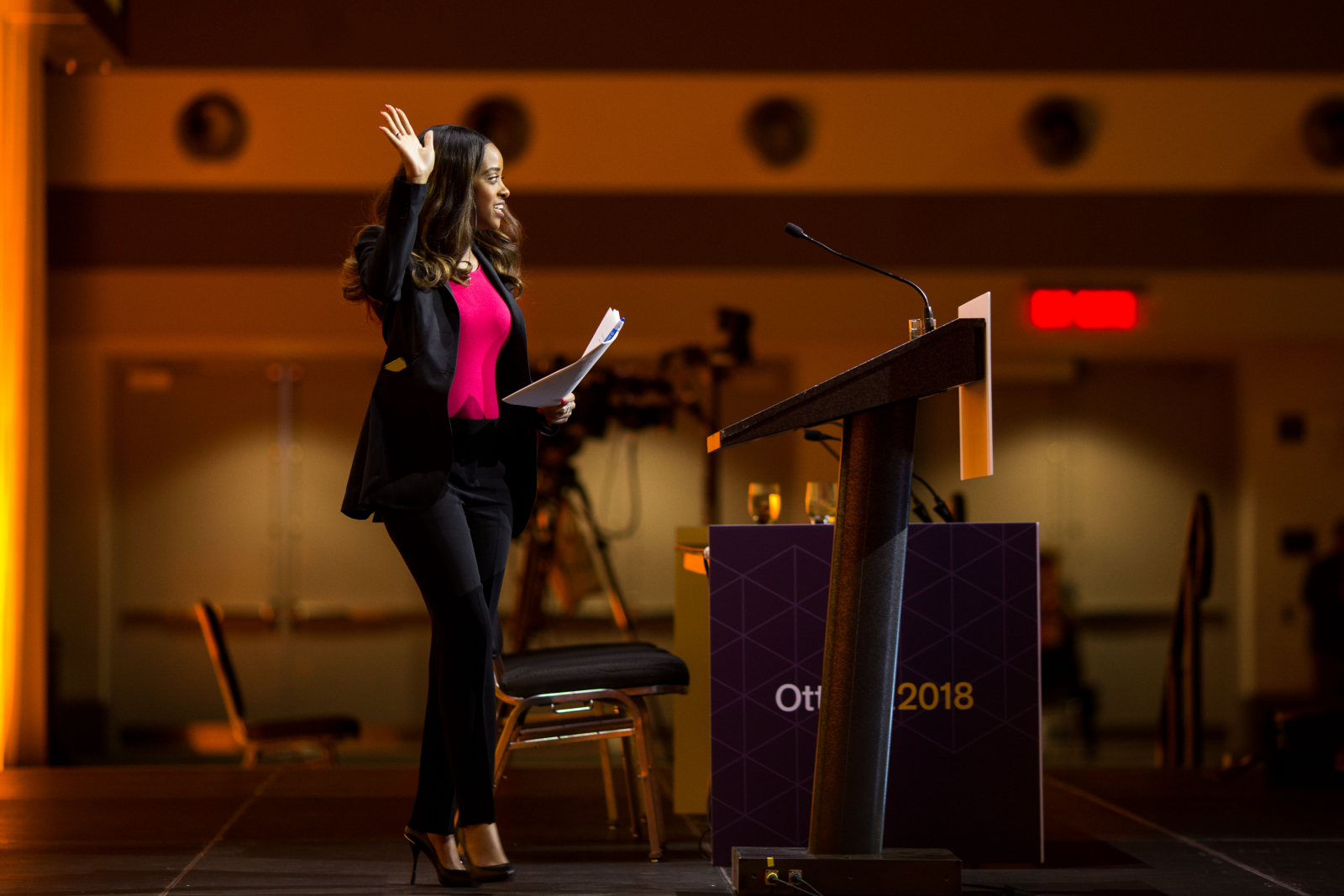 Women's March on Washington co-organizer Tamika Mallory was a keynote speaker during the NDP's national convention on Feb. 16, 2018. Photo by Alex Tétreault