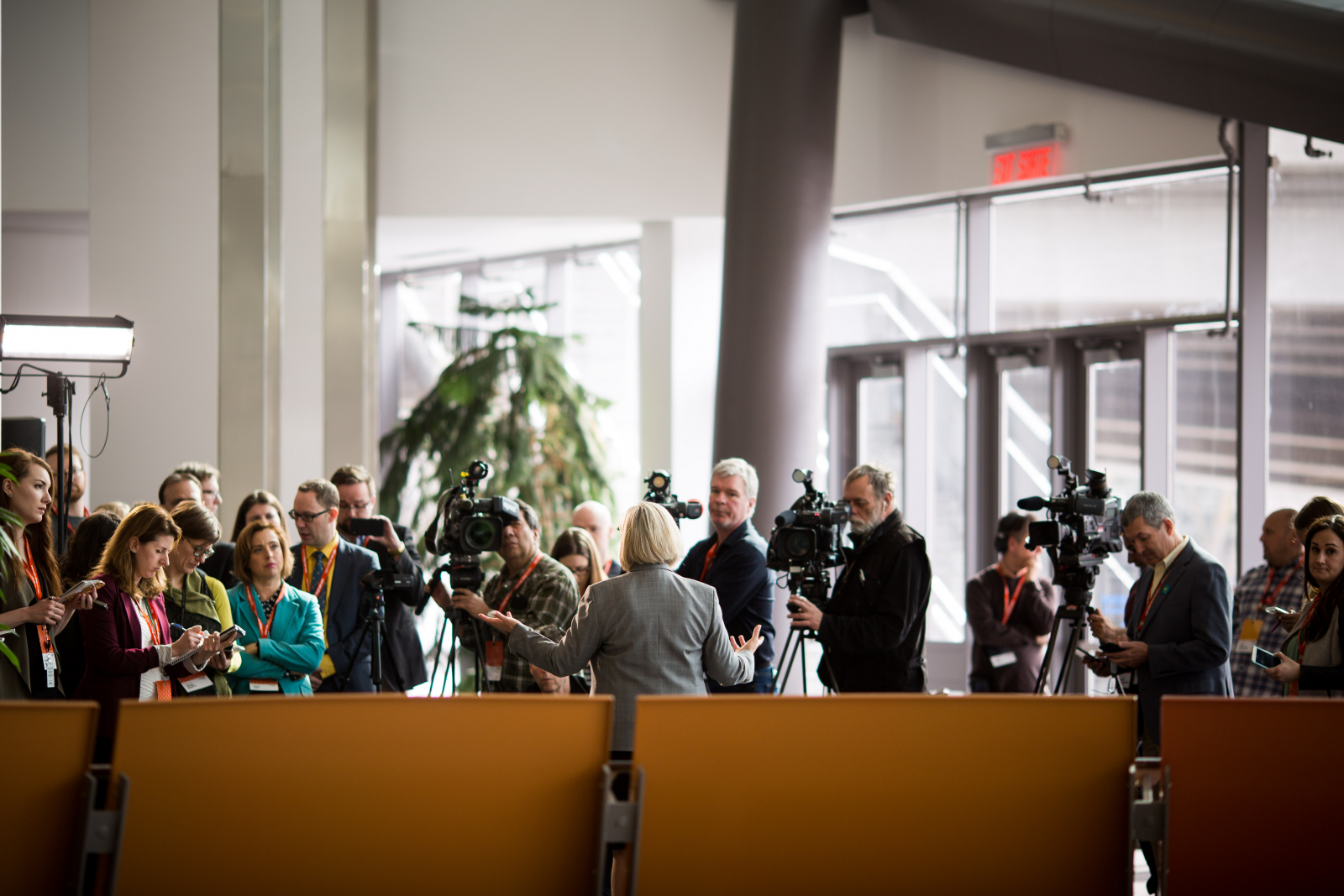 Andrea Horwath fields questions from reporters outside the national NDP convention in Ottawa on Feb. 17, 2018. Photo by Alex Tétreault