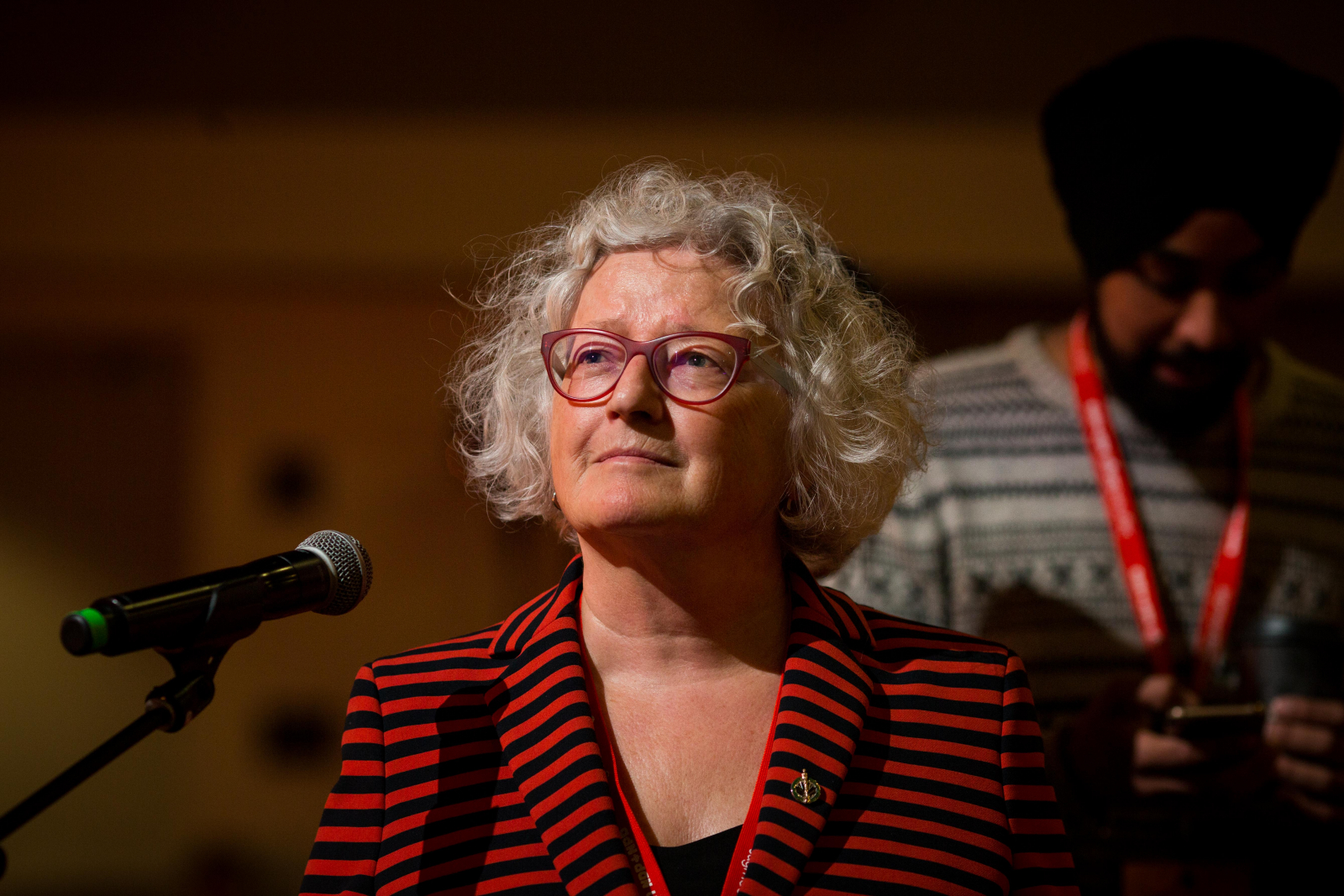 Edmonton-Strathcona NDP MP Linda Duncan spoke to a party resolution to strengthen environmental laws at the NDP convention in Ottawa on Feb. 16, 2018. Photo by Alex Tétreault