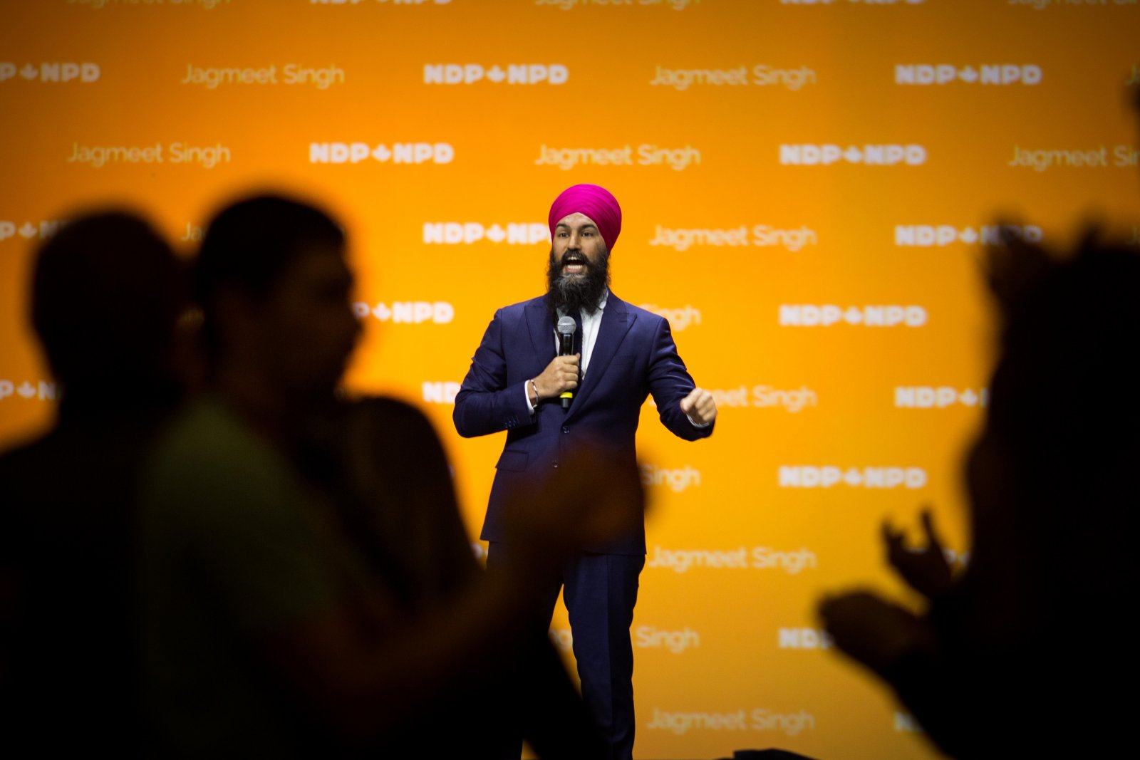Jagmeet Singh speaks to delegates during the NDP's convention in Ottawa on Feb. 17, 2018. Photo by Alex Tétreault