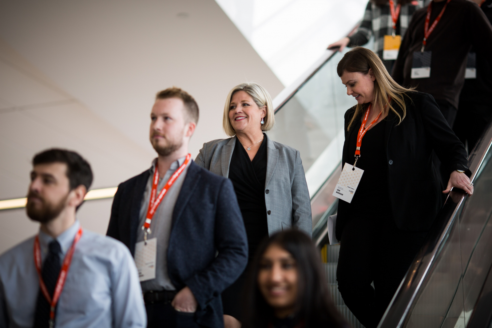 Ontario NDP leader Andrea Horwath heads to a press conference at the Shaw Conference Centre in Ottawa on Feb. 17, 2018 during the NDP's convention. Photo by Alex Tétreault