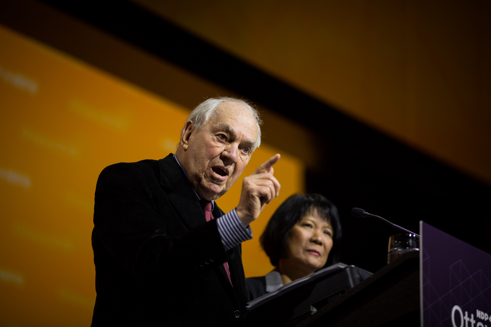 Former NDP leader Ed Broadbent and former NDP MP Olivia Chow address delegates at the Shaw Conference Centre on Feb. 17, 2018. Photo by Alex Tétreault