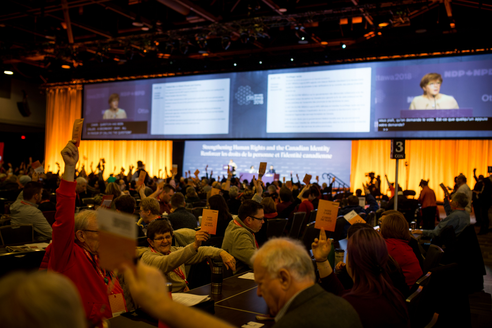 NDP delegates vote during their national convention in Ottawa on Feb. 17, 2018. Photo by Alex Tétreault
