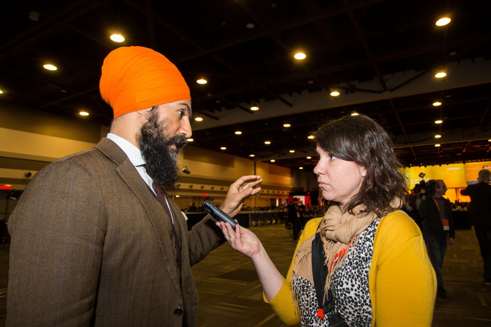 Trish Audette-Longo interviews Jagmeet Singh in Ottawa on Feb. 18, 2018. Photo by Alex Tétreault