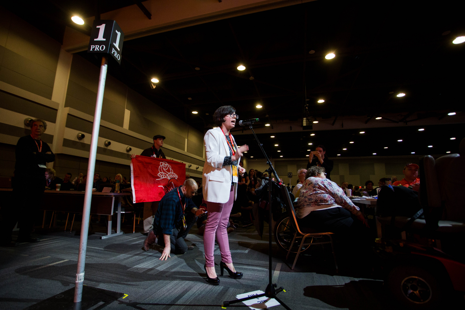 Niki Ashton speaks in support of a motion on Sunday, February 18th 2018, day three of the New Democratic Party 2018 policy convention held at the Shaw Convention Centre in Ottawa. Photo by Alex Tétreault