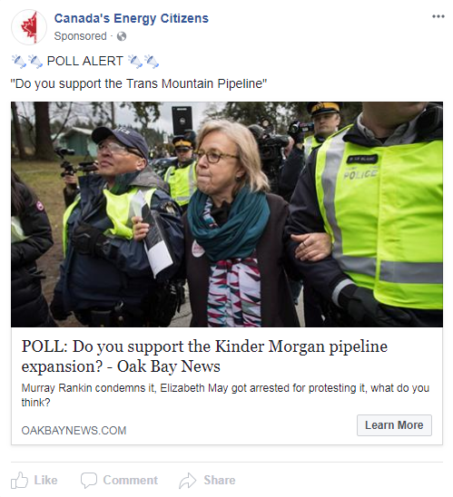 On Friday, April 6, 2018, Canada's Energy Citizens sponsored a Facebook post urging people to vote in favour of the Kinder Morgan Trans Mountain pipeline expansion. Screenshot image