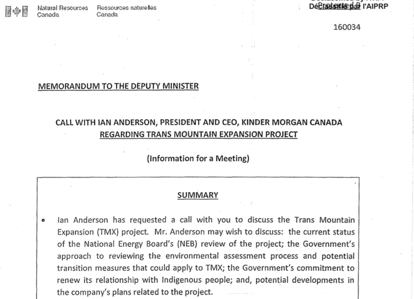 Memo, Bob Hamilton, Natural Resources Canada, memo, Kinder Morgan, Trans Mountain, Ian Anderson