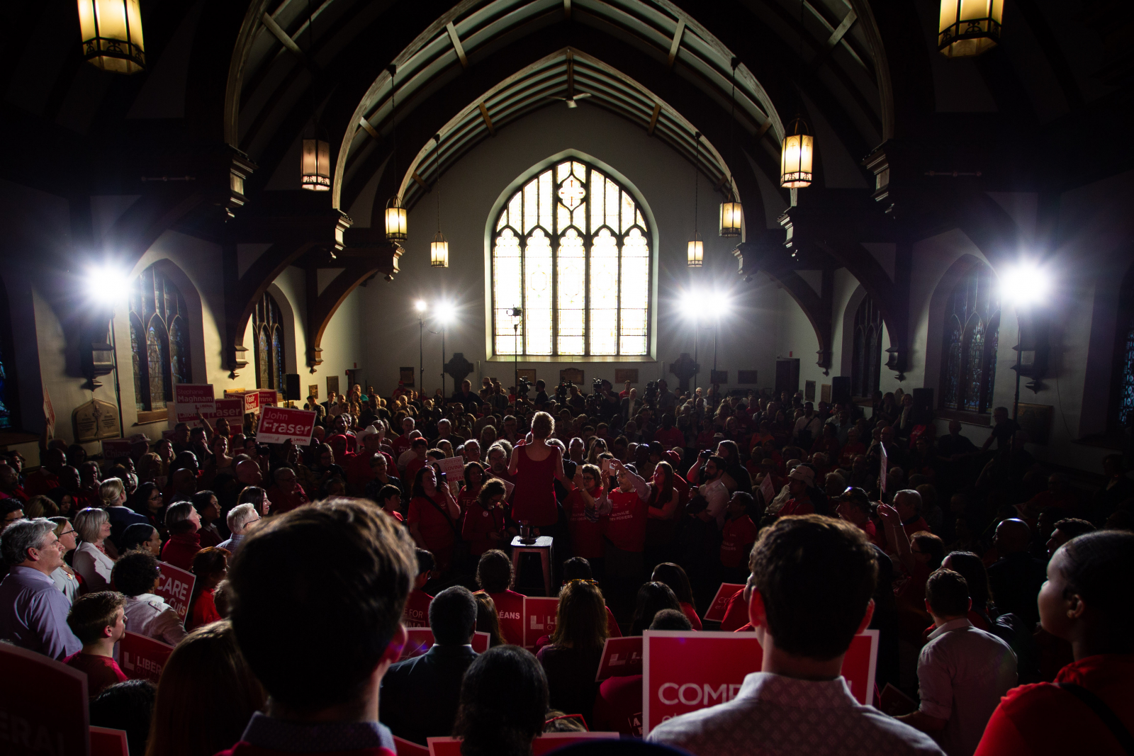 Ontario Liberal Leader and incumbent Premier Kathleen Wynne addresses supporters at All Saints, a former church, in Ottawa on May 9, 2018. Photo by Alex Tétreault