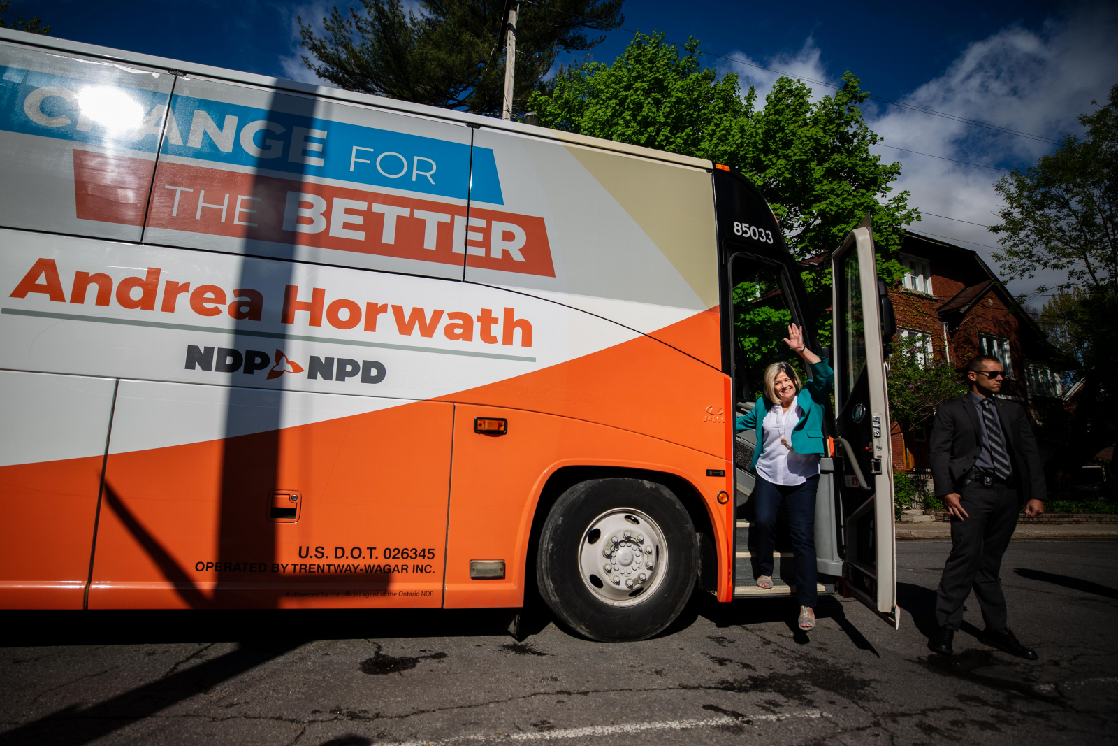 Ontario NDP Leader Andrea Horwath arrives at a campaign event in Ottawa on May 20, 2018. Photo by Alex Tétreault