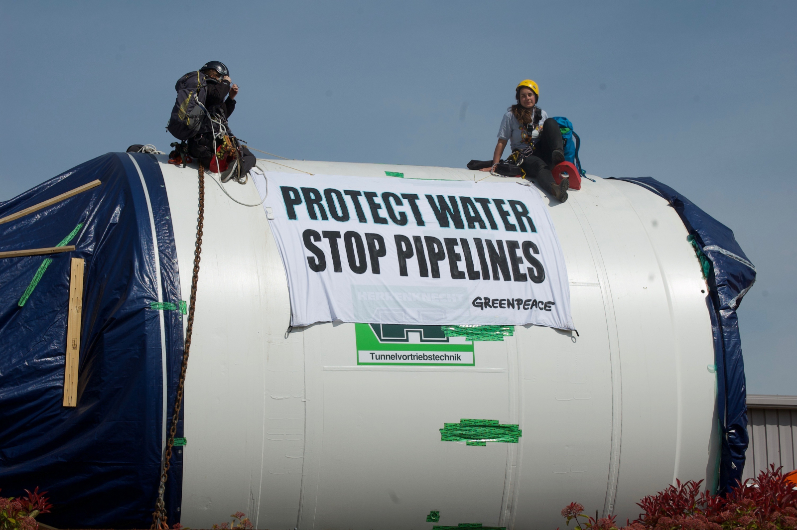 Greenpeace activists on a Kinder Morgan drill in Delta on May 3