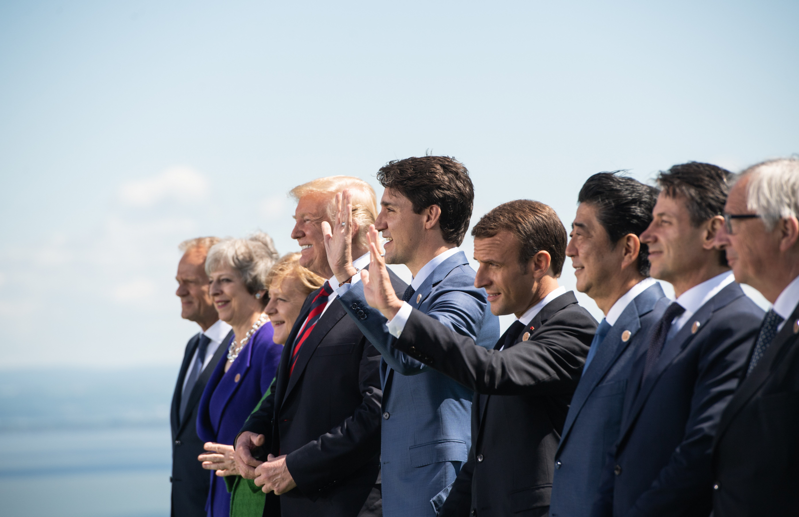 The G7 leaders pose for the traditional family